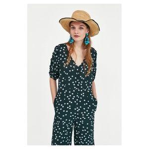 4ab4ae4de25f Zara Pants - ZARA Dark Green Floral Jumpsuit XS NWT